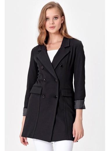 Jument Yakalı Çift Düğmeli Uzun Duble Kol Ceket Siyah